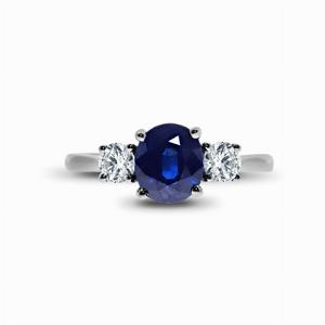 Sapphire & Brilliant Cut Diamond Trilogy Ring