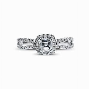 Asscher Cut Diamond Halo White Gold Engagement Ring - 0.30ct