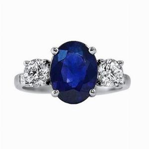 2.92ct Sapphire Three Stone Diamond Engagement Ring