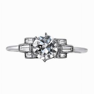 Ornate Transitional Cut Diamond Ring - 0.75ct Approx