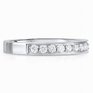 PERUGIA Grain Set Brilliant Cut Half Diamond Wedding Rings