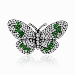 Green Garnet & Diamond Butterfly Brooch