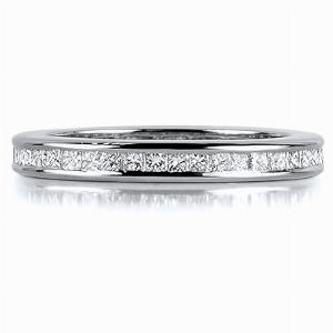 FLORENCE Channel Set Princess Cut Full Diamond Wedding Rings