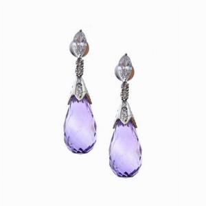 Amethyst Briolette & Diamond Drop Earrings 13.07ct