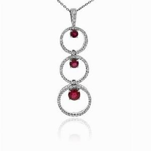 Ruby & Diamond Bubble Pendant 1.29ct