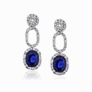 Sapphire & Diamond Earrings Drop Earrings 2.55ct