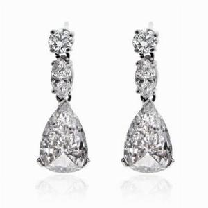 Pear Shape Diamond Drop Earrings 2.90ct