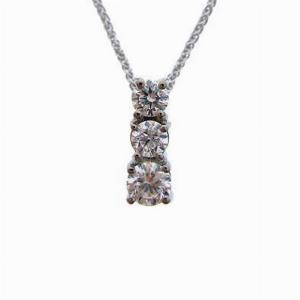 3 Stone Brilliant Cut Diamond Pendant 0.68ct