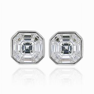 Asscher Cut Rub Over Setting Diamond Studs 2.00ct
