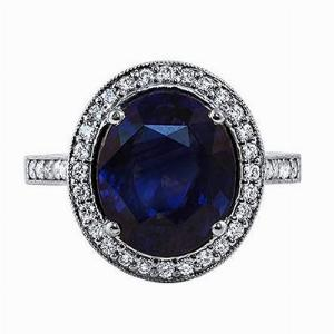 Oval Sapphire & Diamond Cluster Ring - 5.00ct Approx