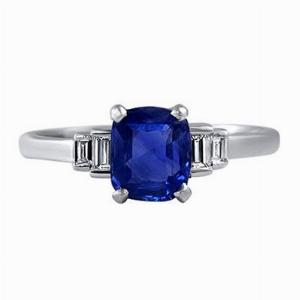 Sapphire Cushion & Baguette Diamond Step Down Ring