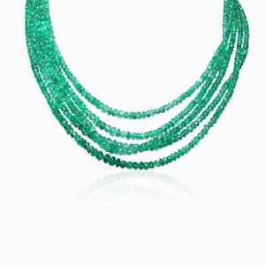 5 Row Emerald Necklace 240ct