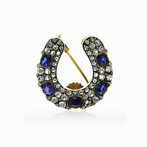 Sapphire And Diamond Horse Shoe Brooch