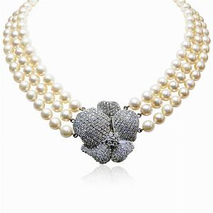 Pearl Necklace with Diamond Flower Clasp