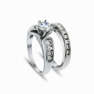 Single Stone Diamond Ring & Half Eternity Ring in Platinum 0.50ct
