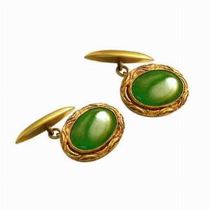 18ct Yellow Gold Jade Cufflinks
