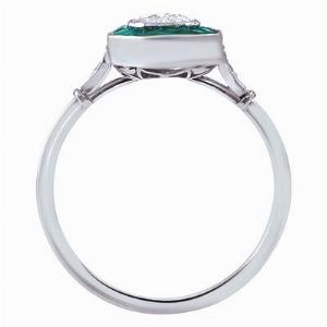 Emerald & Old Cut Diamond Cluster Ring