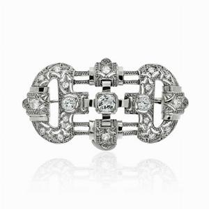 Deco Platinum and Diamond Old Cut Brooch
