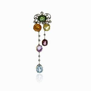 Art Deco Multi Colour Gem Set Brooch