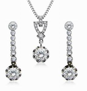 Old Cut Diamond Pendant & Earring Suite 3.50ct Total