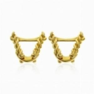 Twisted Rope-Style 18ct Yellow Gold Bar Cufflinks