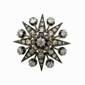 Victorian Old Cut Diamond Star Brooch