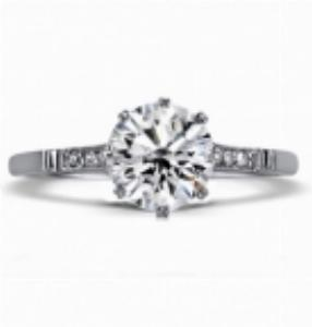 VICTORIA Brilliant Cut Solitaire With Millgrain Old Cut Side Stones