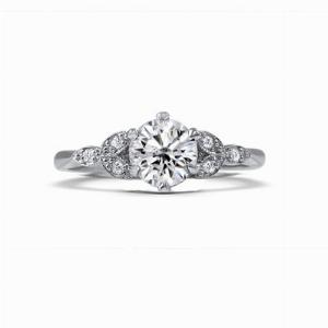 Ivy 0.70ct E SI1 Round Brilliant Cut Diamond Ring With Leaf Motif Shoulders
