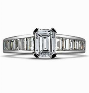 ANNA Emerald Cut Engagement Ring With Baguette Cut Shoulders