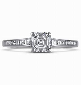 OLIVIA Asscher Cut Single Stone Claw Set Diamond Ring