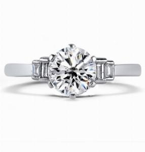 SARAH Brilliant Cut Vintage Engagement Ring With Baguette Step Down