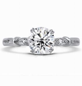 AMELIA Brilliant Cut Diamond Vintage Engagement Ring