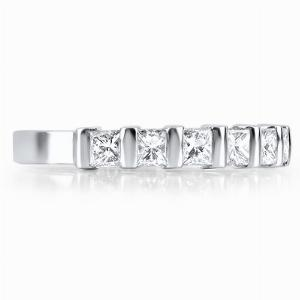 ABRUZZO Bar Set Brilliant Cut Half Diamond Wedding Rings