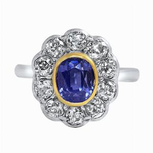 Oval Sapphire & Old Cut Diamond Cluster Ring - 1.50ct