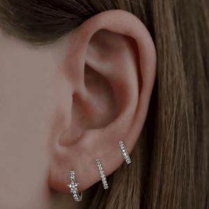 18ct White Gold 8mm Diamond Huggie Earrings - Pair