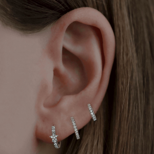18ct White Gold 6mm Diamond Huggie Earrings - Pair