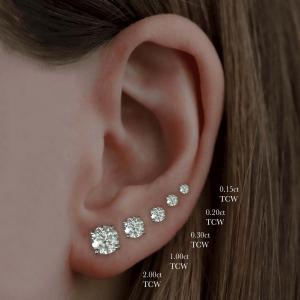 Round Brilliant Cut Diamond 3 Claw Stud Earrings 0.20ct - 1.00ct