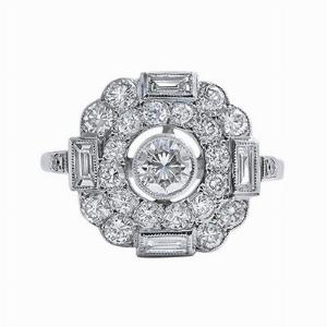 Deco-Style Brilliant & Baguette Cut Diamond Ring - 1.20ct Approx