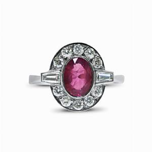 Oval Ruby And Diamond Cluster Ring - 0.85ct