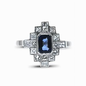 Sapphire & Princess Cut Diamond Cluster Ring