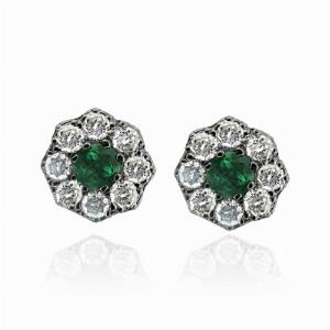 Emerald & Diamond Cluster Studs