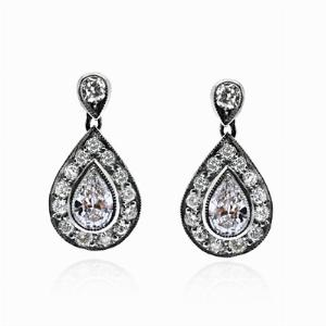 Pear Shape Diamond Cluster Earrings