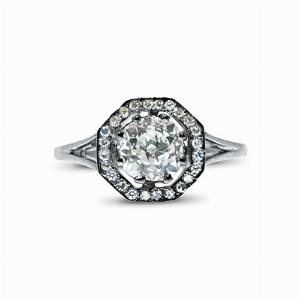 0.85ct Hexangonal Old Cut Diamond Cluster Ring