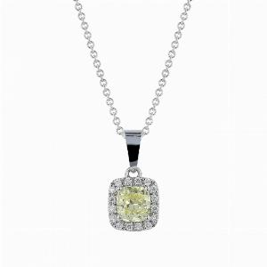 1.01ct Fancy Yellow Cushion Cut Diamond Pendant