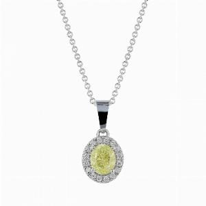 1.01ct Fancy Yellow Oval Cut Diamond Pendant