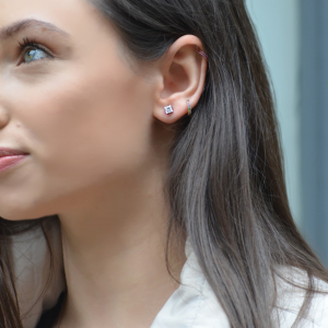 18ct White Gold 1.14ct Princess Cut Diamond Stud Earrings