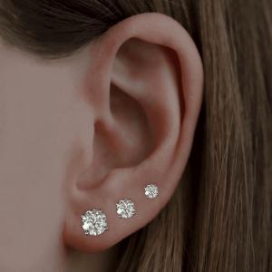 3.00ct Round Brilliant Cut Diamond White Gold Stud Earrings