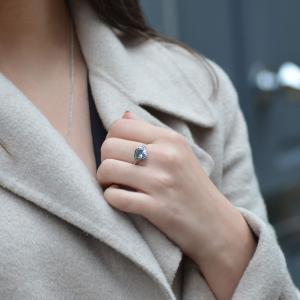 Platinum Aquamarine & Diamond Leaf Motif Ring