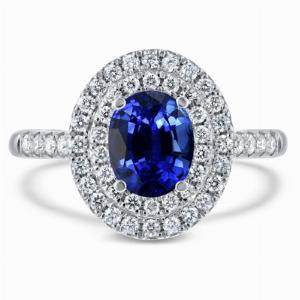 1.50ct Oval Blue Sapphire Double Micro Halo Ring