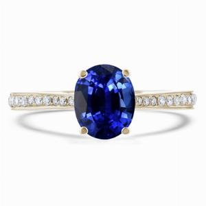 2.20ct Oval Blue Sapphire Grain Set Diamond Shoulder Ring